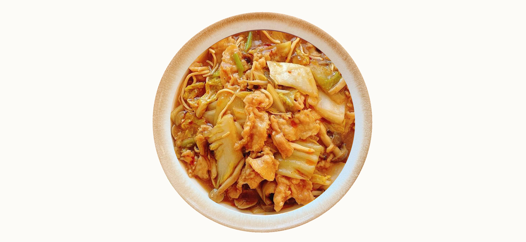 Sauteed pork and Chinese cabbage with black vinegar and colorful vegetables「豚肉�白��黒酢炒�彩り野�を添���